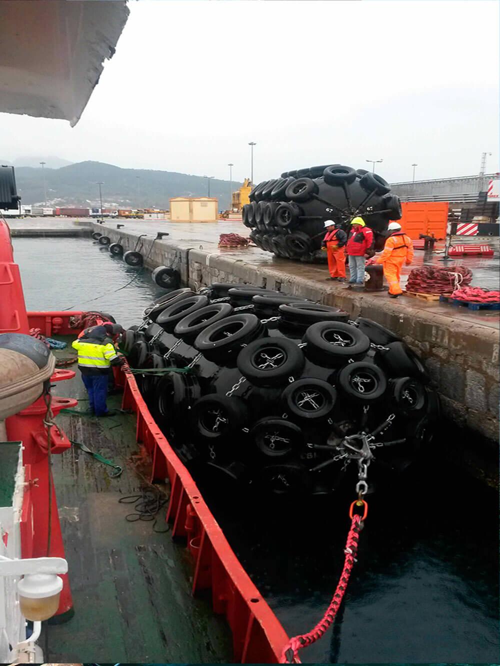 Ship fenders in gibraltar strait